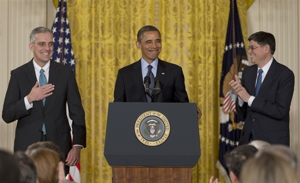 Obama officially names Denis McDonough as chief of staff, toasts David Plouffe (Photo: Carolyn Kaster / AP) #NBCPolitics