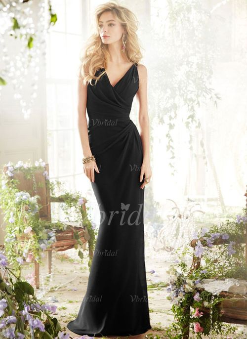 Bridesmaid Dresses - $112.56 - Trumpet/Mermaid V-neck Sweep Train Chiffon Bridesmaid Dress With Ruffle (0075057183)