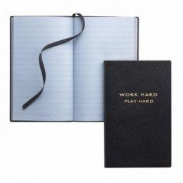 Smythson 'Work Hard, Play Hard' Bespoke Notebook #Leaving Work Gifts http://www.giftgenies.com/presents/work-hard-play-hard-bespoke-notebook