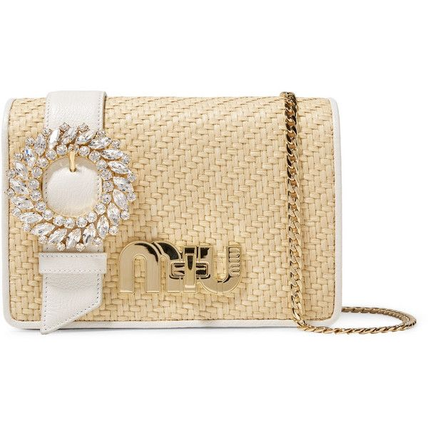 Miu Miu My Miu crystal-embellished textured-leather and raffia... (7,895 SAR) via Polyvore featuring bags, handbags, shoulder bags, beige, shoulder bag purse, raffia handbags, shoulder strap purses, beige shoulder bag and structured handbags