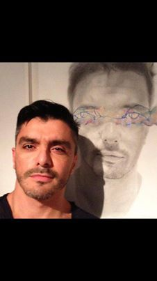 Handsome model and #portrait by JeanPaul Mallozzi,#contemporary #painting and #drawing at #MarguliesAgency