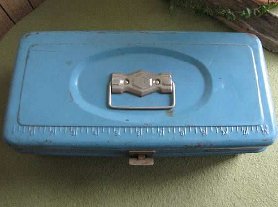 Vintage Blue Metal Tool Box Small Latched Toolbox With Ruler