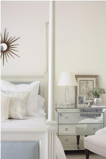 white bedroom mirrored nightstand