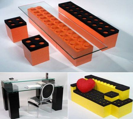 "It was only a matter of time...Lunatic Construction offers the easy solution for creating your ""custom-made furniture"" - gigantic Lego-resembling blocks. You can design your own setup using different sizes and colours, just like with normal Lego.  Cool idea for desks and chairs for BIG kids and MAN CAVES - or just something cool and different as a statement furniture. I quite fancy the orange glass-top coffee table..."