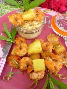 Brochette de crevette-ananas