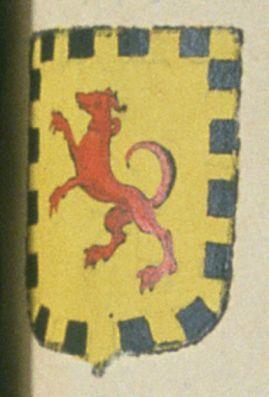 BRUNET, bénéficier en l'église collégiale de Saint-Laurent de la ville de Salon. Porte : d'or, à un lévrier rampant de gueules, accolé d'or ; l'écu avec une bordure denticulée de sable   N° 1570