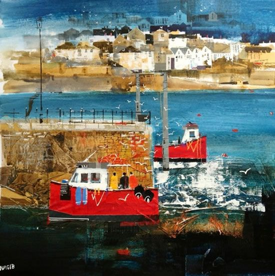 Polruan Ferry - Cornwall Art Gallery - Painting by Surrey Artist Nagib Karsan