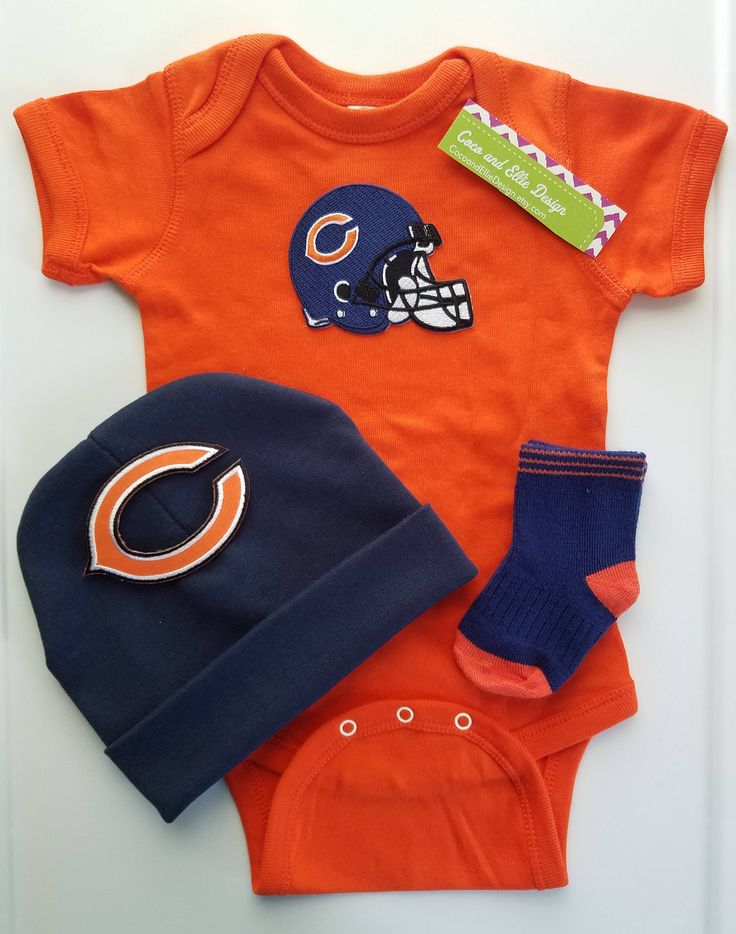 chicago bears outfit with hat for baby/bears for baby/chicago bears bodysuit/bears romper/baby chicago bears/bears beanie/chicago bears baby by CocoandEllieDesign on Etsy