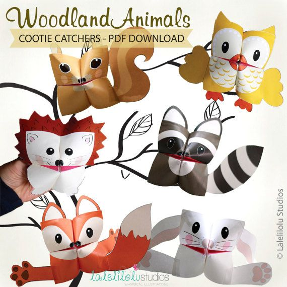 Animaux de la forêt imprimable Cootie Catchers   Téléchargement PDF   Animaux de la forêt, animaux de la forêt, origami pour enfants, jeu simple, diseuses de bonne aventure par LaleliloluStudios