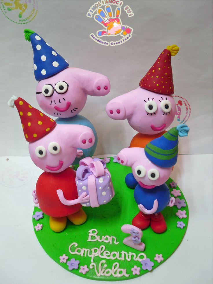 cake topper in fimo Peppa Pig e family