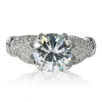 Exquisite 3 1/2 CT. Rosette Style Wedding/Cocktail Ring w/Austrian Crystals & R/P Band Sz 9