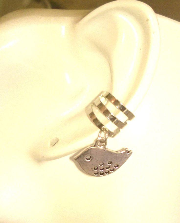 Silver Bird Dangle Ear Cuff Earring Ear Clip Cartilage Jewelry Handmade New #HandmadewithLove #Cuff
