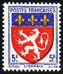 Armoiries du Lyonnais Armoiries des provinces françaises (Première série) - Timbre de 1943