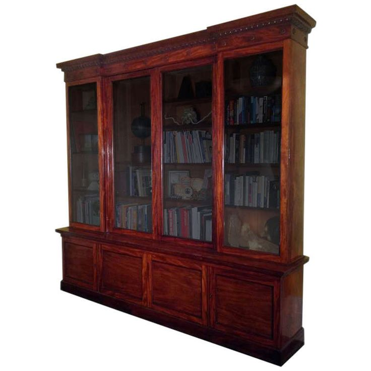 Fine Flame Mahogany Bookcase Circa 1830 | From a unique collection of antique and modern bookcases at http://www.1stdibs.com/furniture/storage-case-pieces/bookcases/