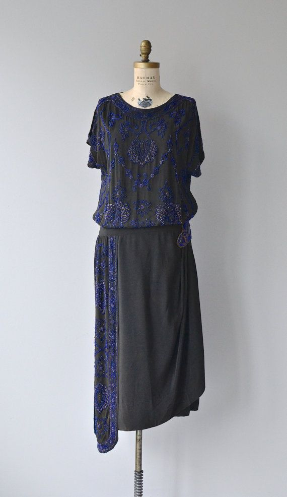 Geocentric Zenith vintage 1920s dress silk beaded by DearGolden