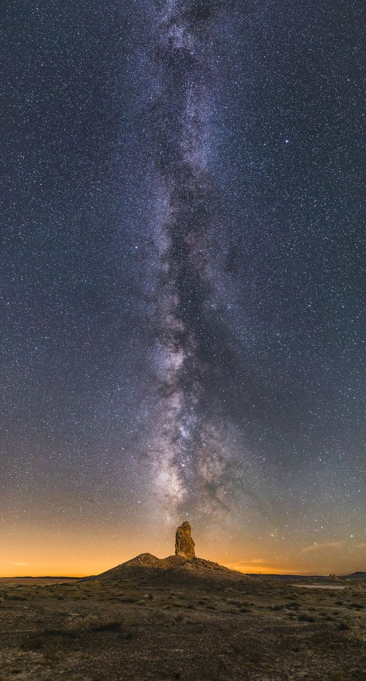 """Bought my first """"real"""" camera and became addicted to landscape astrophotography. One of my favorites from this summer - a vertical panorama at Trona CA. [OC] [860x1600]"""