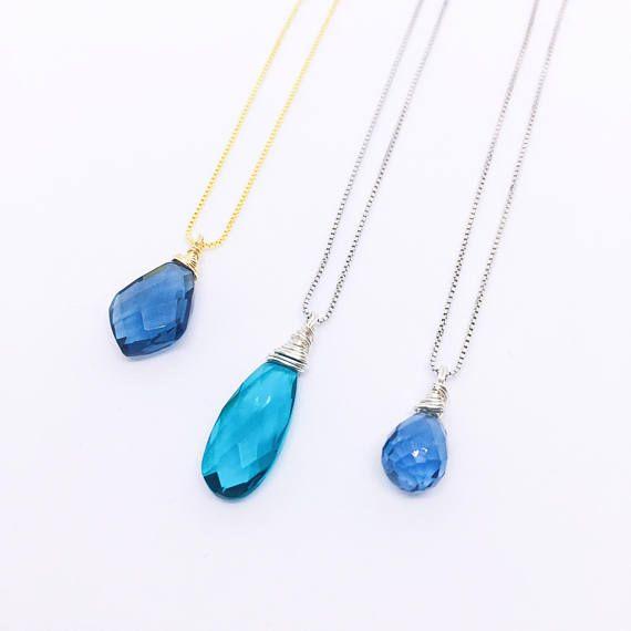 Blue Quartz Necklace Blue Crystal Necklace Blue Pendant
