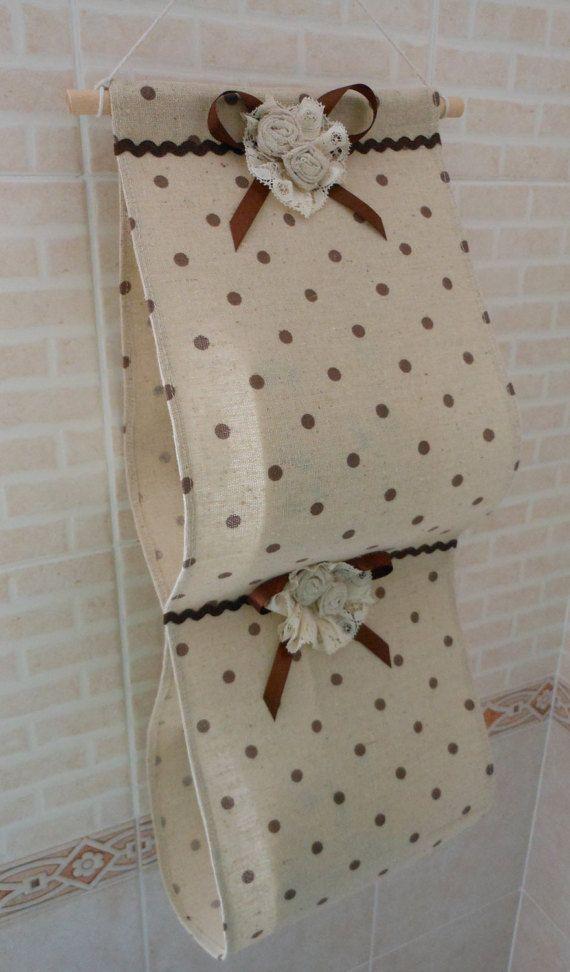 Porta rotolo di carta igienica in tessuto (fatto a mano, beige con pois marroni)