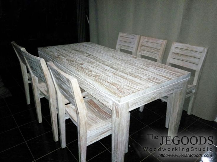 We produce dining table in rustic white washed finish made of mindi wood (Java Oak) at wholesale factory price by The Jepara Goods Woodworking Studio Indonesia.