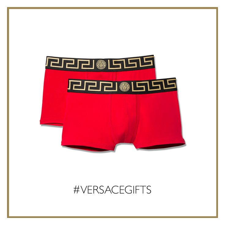 These red #Versace boxer with Greca and Medusa head details enhance a bold essential style. #VersaceMenswear #VersaceGifts