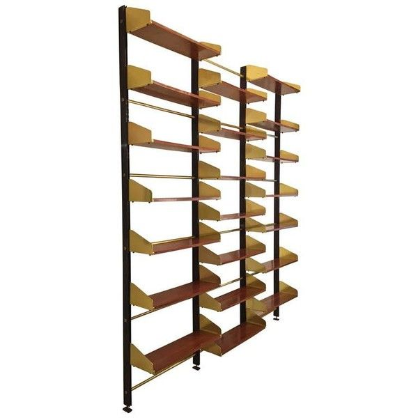 Italian Midcentury Bookcase (111390 MAD) ❤ liked on Polyvore featuring home, furniture, storage & shelves, bookcases, adjustable shelf bookcase, adjustable shelf, adjustable shelving, book shelves and adjustable shelves