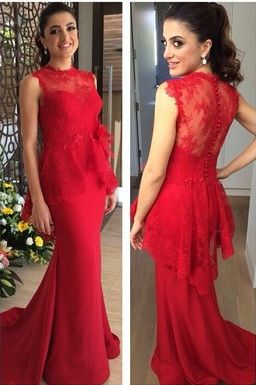 Red Mermaid Peplum Prom Dress with Illusion Bodice