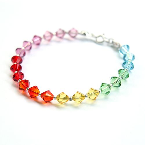 A bracelet made of Swarovski crystals in all brightful colours of a rainbow :)