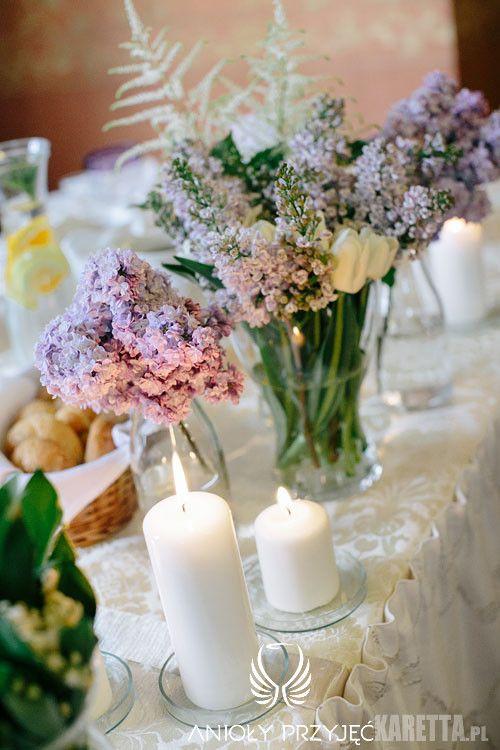 4. Lilac Wedding, Lilac centerpieces / Wesele z bzem,Dekoracja stołów,Anioły Przyjęć