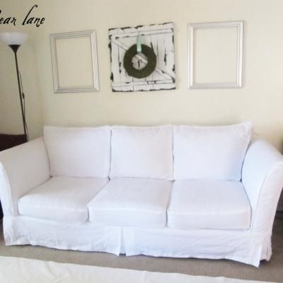 """Couch Slipcover DIY {Slipcovers} For extending couch lifespan (PS I learned the hard way, unless you are spending the big moolah on a FULL / REAL Leather Sofa, the ones usually bought at the stores are crap and will start looking it 3-4 years in... so you might as well look for something you can swap covers on, or save for the """"real"""" thing. Not all """"real"""" leather is real enough!)"""