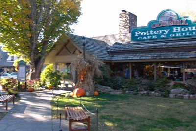 Beautiful Fall Day in front of The Pottery House Cafe and Grille.