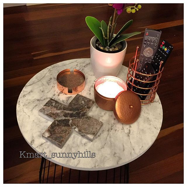 Found a new colour in the #kmartaus marble cross. Stands out a bit more on my marble look side table kmart hack. . #kmartcross #kmartcopper #kmarthack #kmartcreatives #kmartlovers #kmartausinspire #thekmartforecast #thediydecorator #kmarthome #kmartstyling #ihartkmart