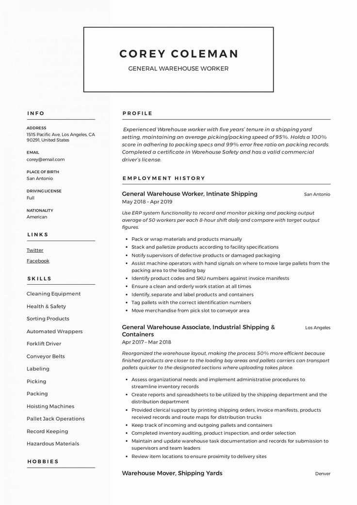 25 Resume Template for Warehouse Worker in 2020 Resume