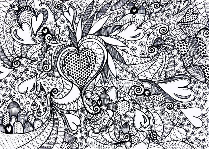 challenging abstract pattern of heart coloring pages for adults