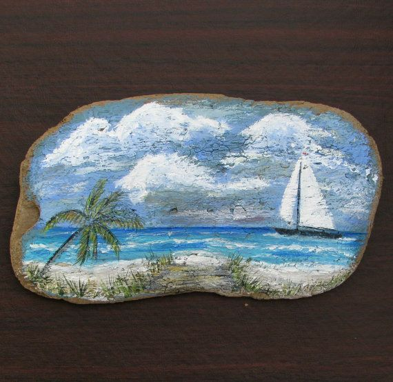 Painted Driftwood Tropical Beach with Palm Tree