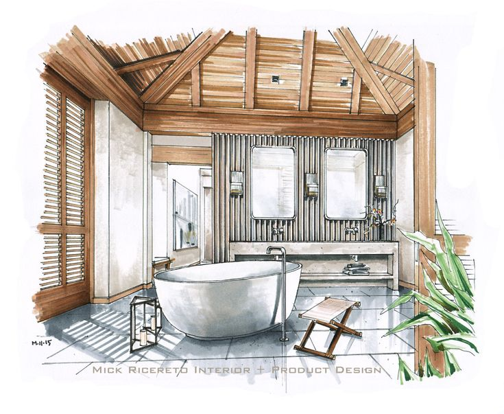 hawaii resort bathroom rendering in sketch style