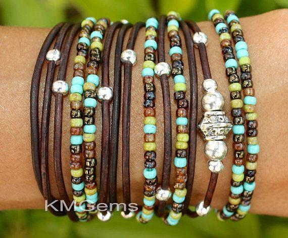 TURQUOISE Boho Leather Wrap Bracelet  Leather by GypsyBohoJewelry