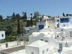 Árabe, Casas, Azul, Blanco, Túnez