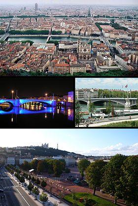 En haut, vue sur le centre de Lyon depuis Fourvière, au centre le pont Bonaparte de nuit et le pont Lafayette, en bas la Place Bellecour ave...