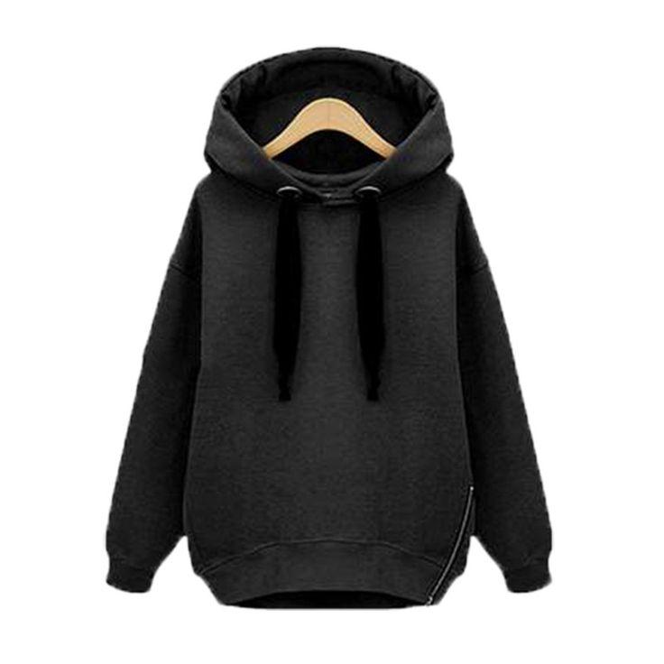 Winter Autumn  Fashion Women Long Sleeve Hooded Jacket Loose Warm Hoodies Solid Sweatshirt Plus Size 3 Colors - Black Short, 5XL Isn`t it awesome? Visit us
