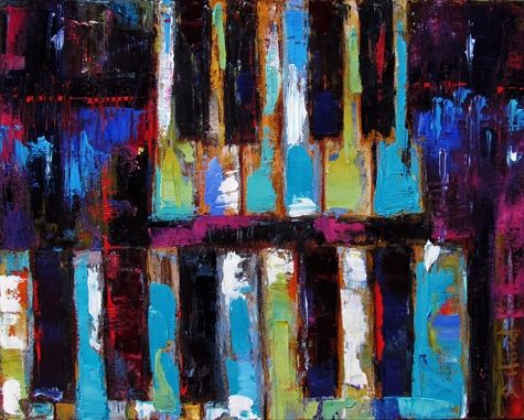 Abstract Piano Jazz Art Painting By Debra Hurd, painting by artist Debra Hurd