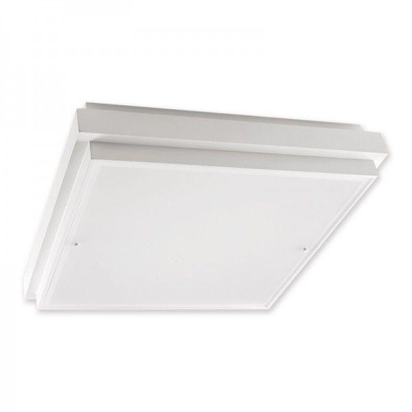Plafon Duuo quadrado, uso interno, para 4 lâmpadas,  Medidas: 50x50cm,   Material: MDF e acrílico,  Cor: Branco