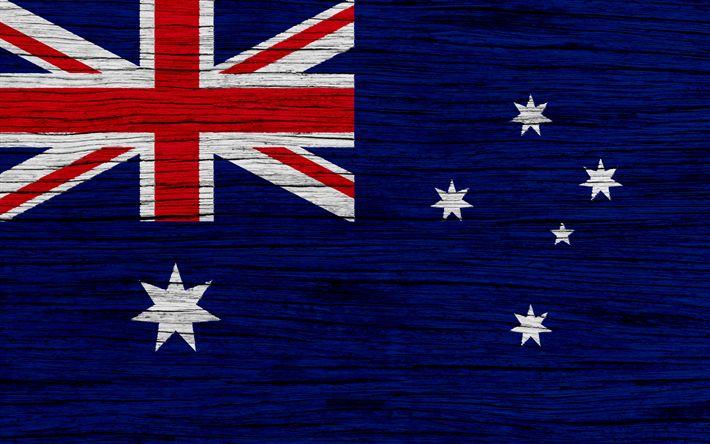 Download wallpapers Flag of Australia, 4k, Oceania, wooden texture, Australian flag, national symbols, Australia flag, art, Australia