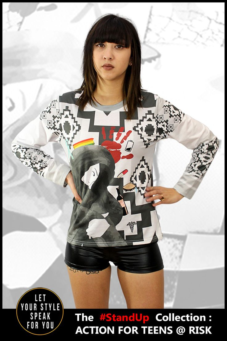 Features a design with inspiration by homeless street youth. Made with 90% Polyester 10% Spandex Machine Washable