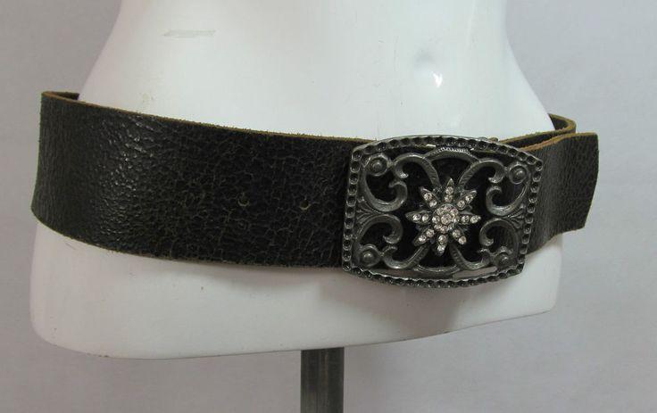 Republic black wide distressed leather belt with diamante buckle M/L R15326 #style #fashion #love #woman #chic #eBay #BELT #sangriasuzie