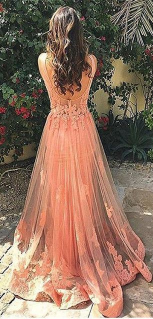 Beautiful open back pink tulle long prom dress with lace appliques, 2016 new formal dress for teens