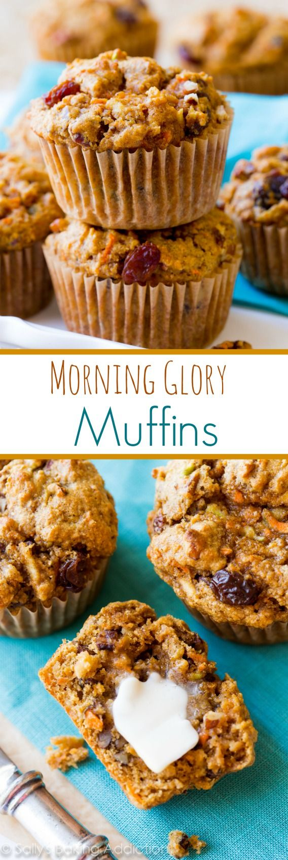 Simple, wholesome, and hearty Morning Glory Muffins packed with flavor and super-moist! #muffins #breakfast #brunch