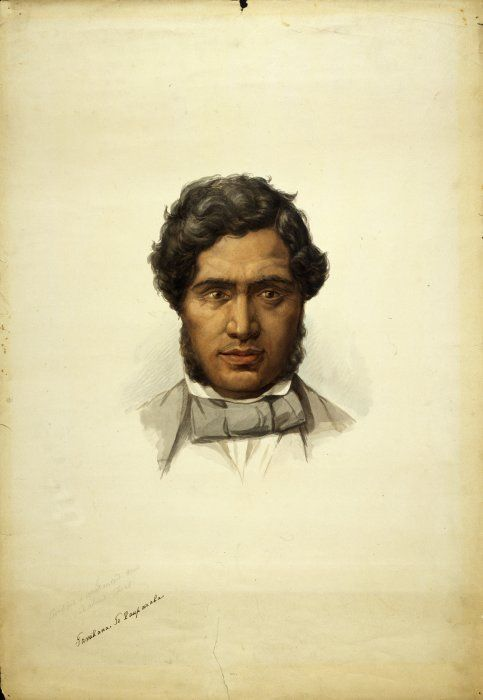 George French Angas 1822-1886: Tamihana Te Rauparaha 1852. Head and Portrait, painted in London. He is wearing a cravat and European suit in pale grey. Unsigned but titled in Angas' hand with pencilled note 'civilized and christianized New Zealand chief.'