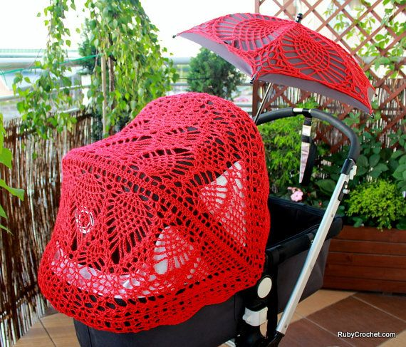 Crochet canopy & parasol covers for Bugaboo strollers. $44.00, via Etsy.