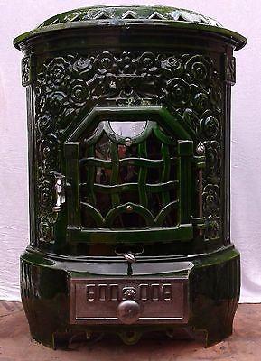 Antique FRENCH ART NOUVEAU GREEN enamel DEVILLE HELLIVER cast iron WOOD  STOVE