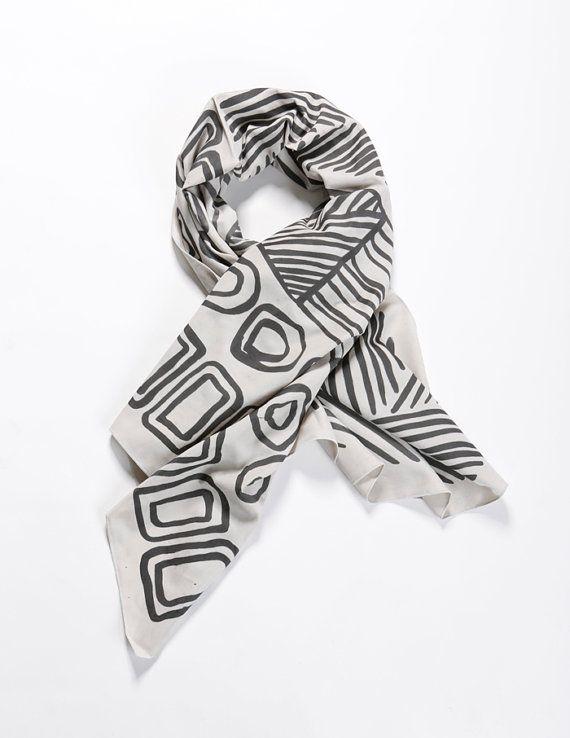 Grey and Black hand printed woman scarf, Silk screen printed shawl, Handmade by Dikla Levsky